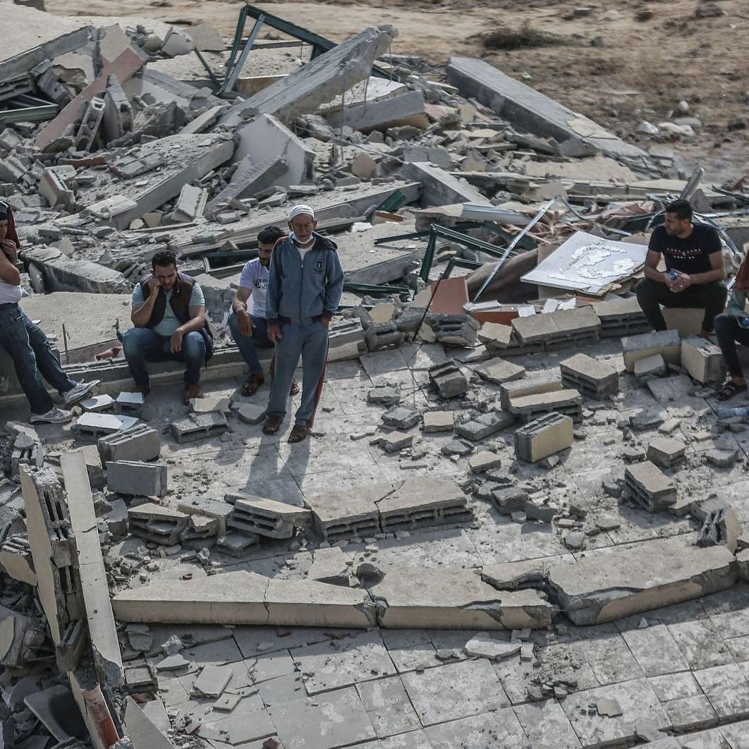غزہ میں اسرائیلی بمباری کے بعد کا منظر