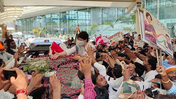 پرینکا گاندھی سہ روزہ دورہ پر لکھنؤ پہنچیں، ائیر پورٹ پر ہوا شاندار استقبال