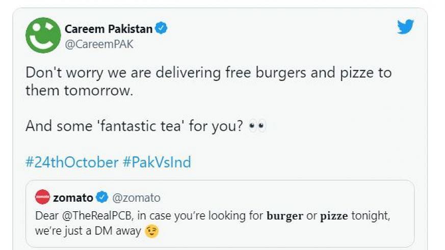 ٹی-20 عالمی کپ: ہند-پاک مہا مقابلہ سے قبل 'زومیٹو' اور 'کریم پاکستان' آمنے سامنے