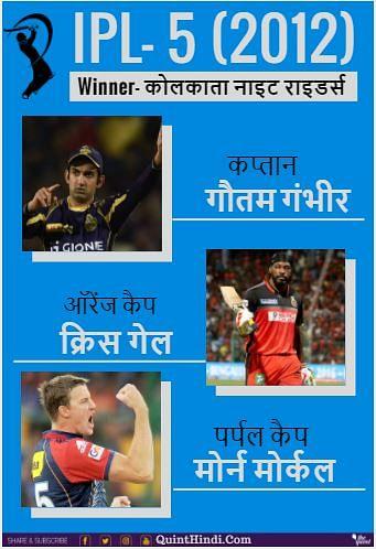 5वें सीजन में कोलकाता नाइट राइडर्स ने लगातार दो बार विजेता रही टीम चेन्नई सुपर किंग्स को 5 विकेट से हराकर बड़ी जीत दर्ज की थी.