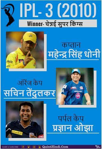 आईपीएल के तीसरे सीजन में चेन्नई सुपर किंग्स ने जीता था खिताब