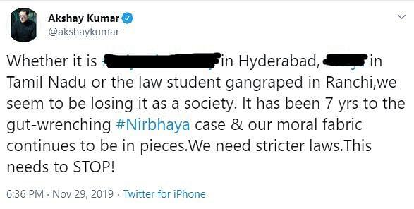 हैदराबाद डॉक्टर मर्डर केस: अक्षय-फरहान ने की सख्त कार्रवाई की मांग