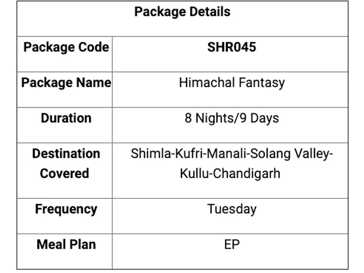 IRCTC Himachal Pradesh Tour Package:
