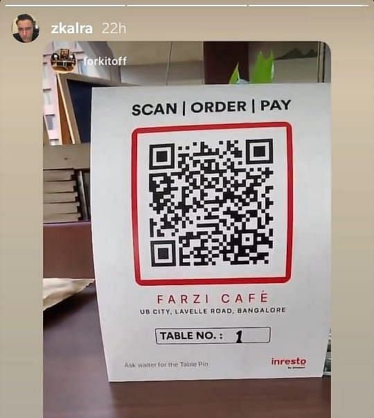 बेंगलुरु में QR कोड वाले मेन्यू ऑर्डर सिस्टम पर रेस्टोरेंट मालिक जोरावर कालरा का इंस्टाग्राम पोस्ट