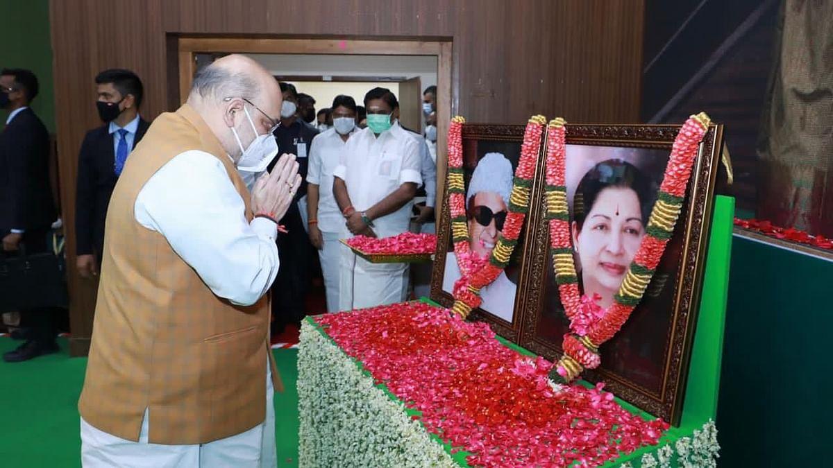 तमिलनाडु में अमित शाह, AIADMK बोली- BJP के साथ गठबंधन जारी रहेगा