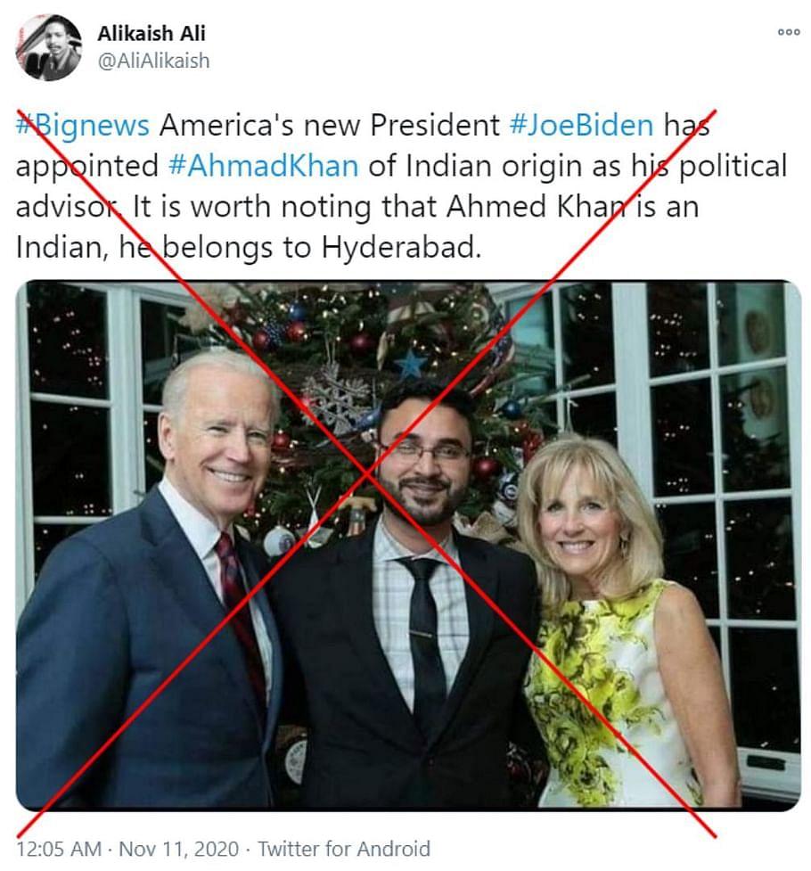 बाइडेन के राजनीतिक सलाहकार नियुक्त हुए अहमद खान? फेक है दावा