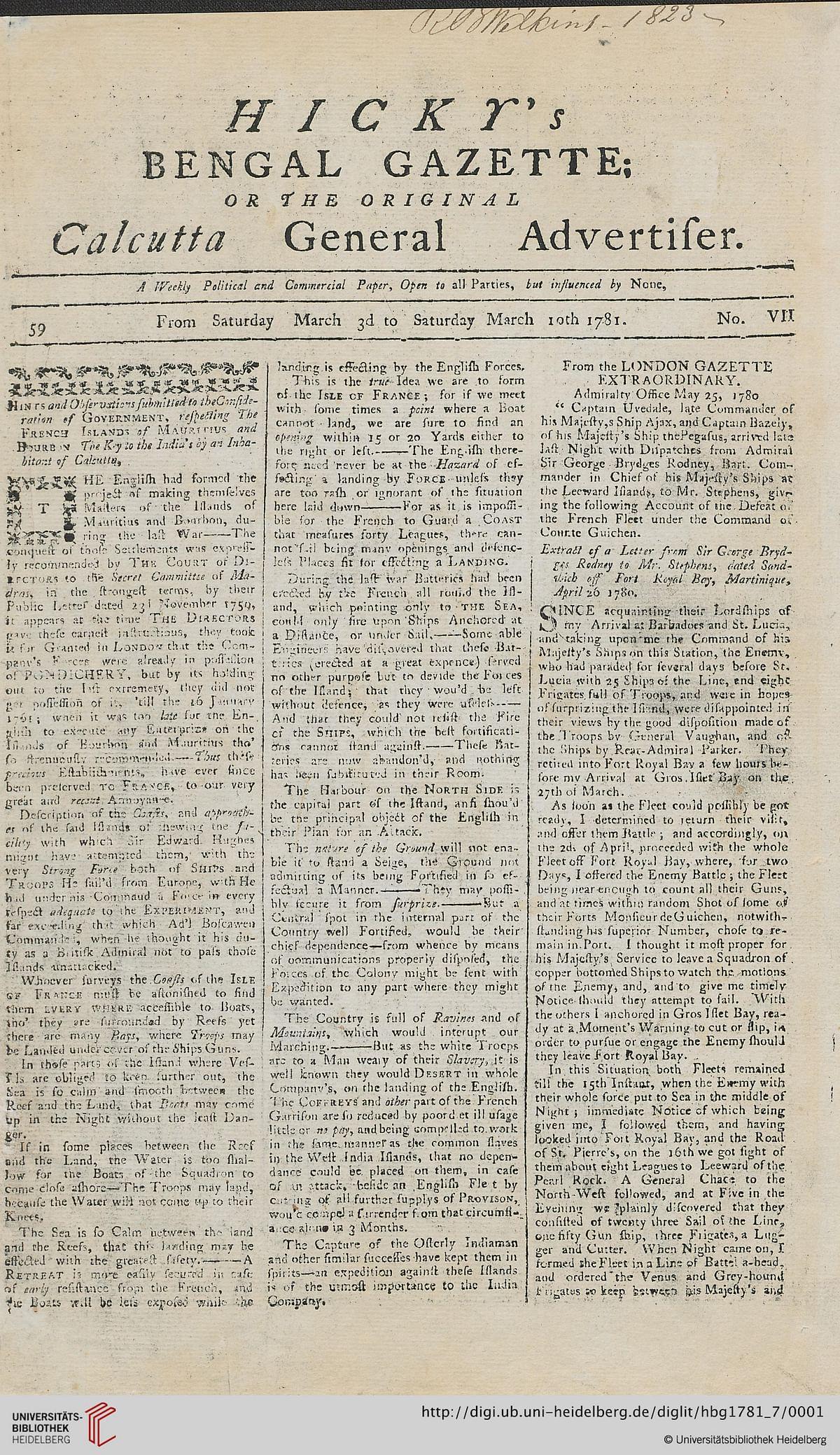 Hicky's Bengal Gazette (Source : Wikipedia)