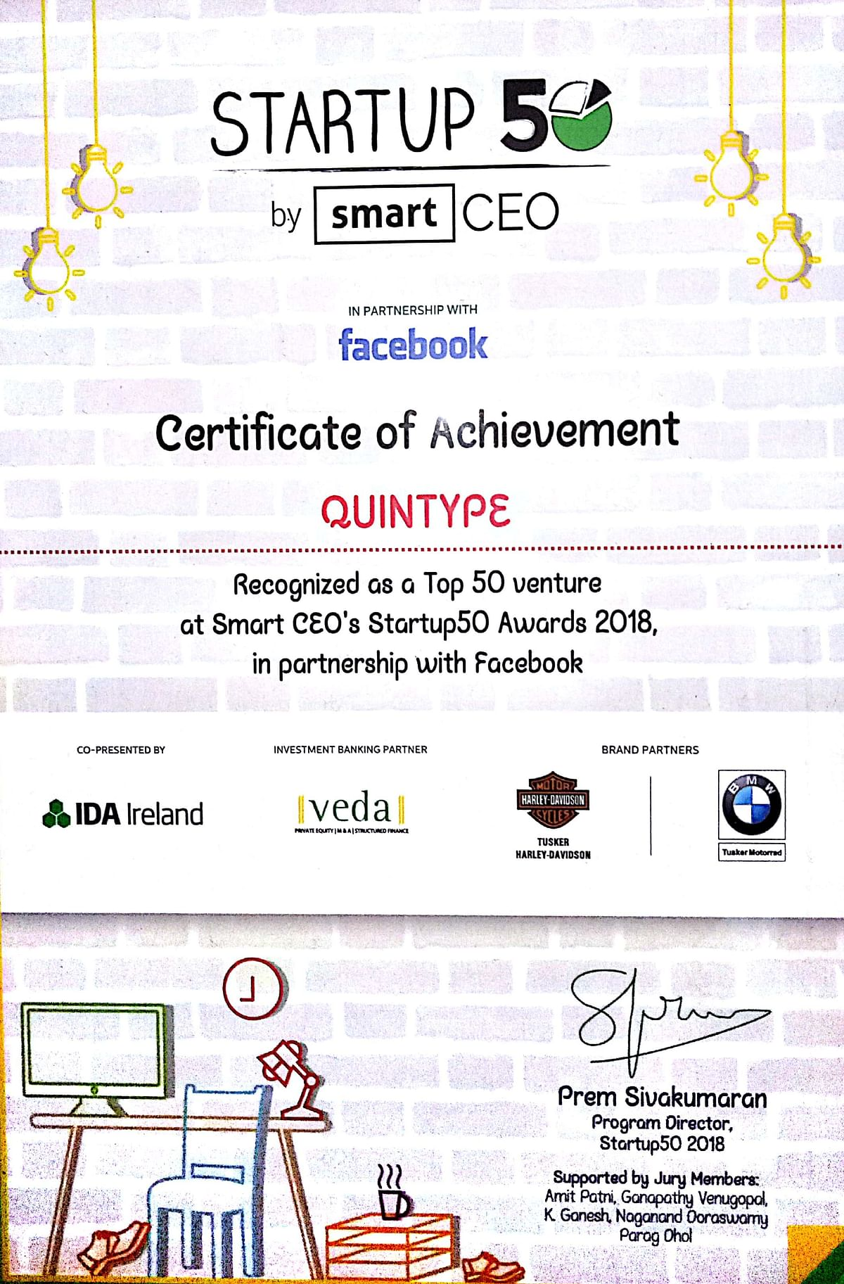 Recognition received by Quintype at the Startup50 Awards 2018 by Smart CEO