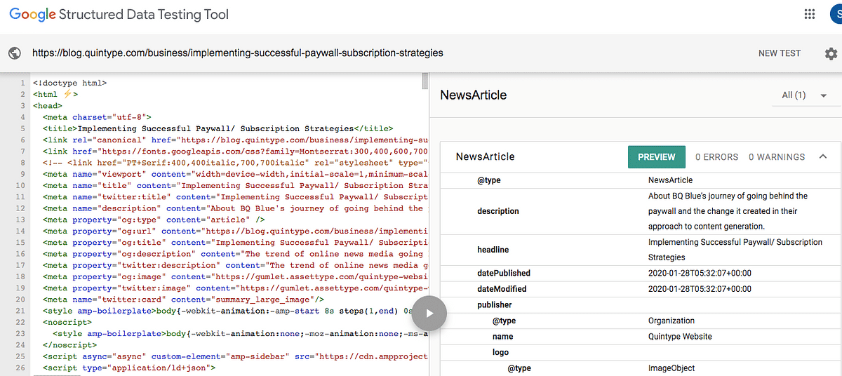 This story on Quintype blog has newsarticle schema enabled. Schema Markup is generated based on the content type.