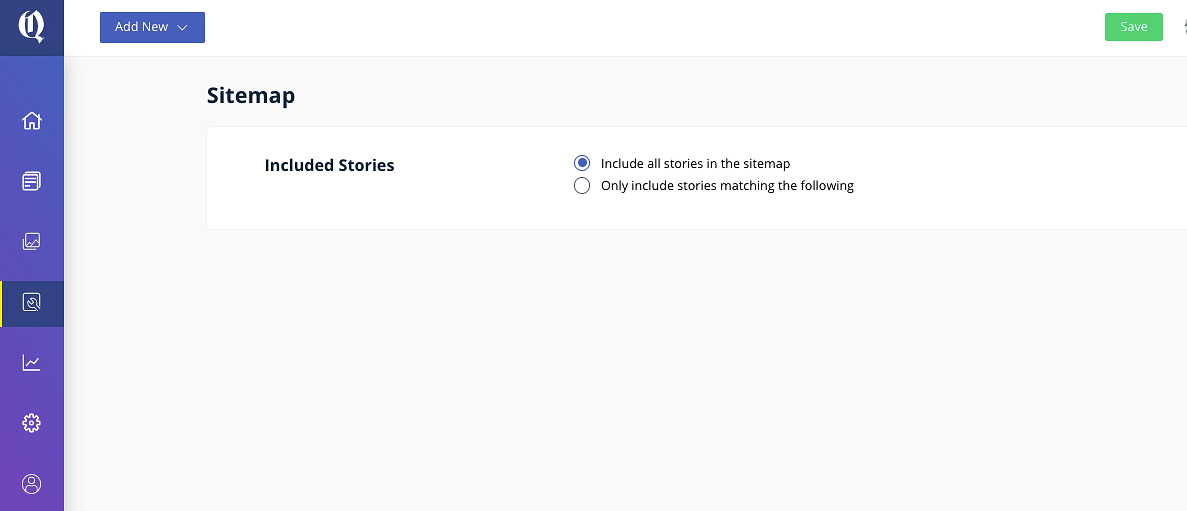 All stories get added to the sitemap by default. You can also manually select stories if the number of stories goes beyond the crawl budget.