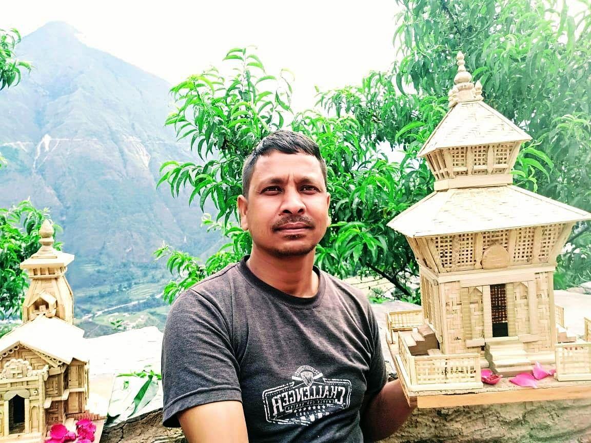 लाॅक डाउन में रिंगाल से बनाया पशुपतिनाथ मंदिर