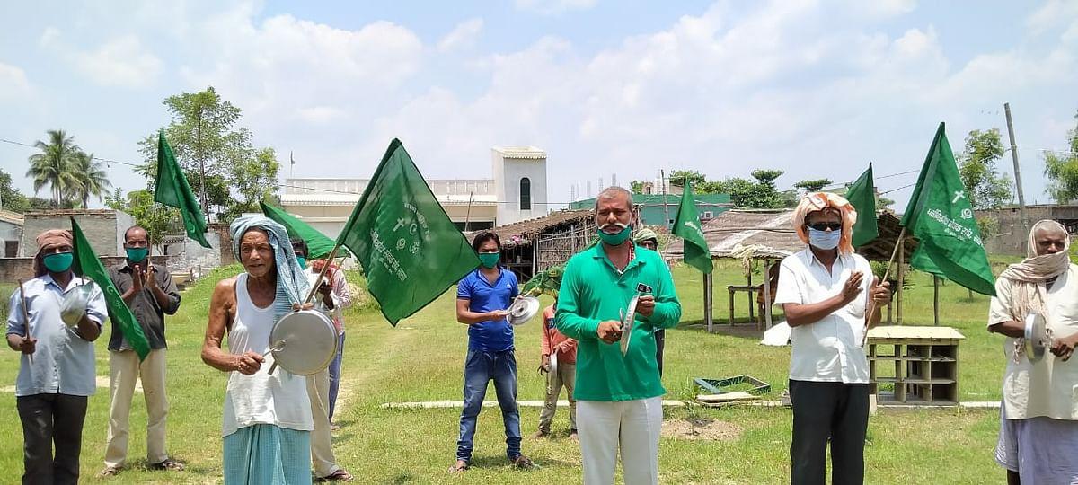 सहरसा में राजद ने थाली पीटकर मनाया गरीब अधिकार दिवस