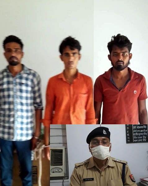 दो दिन पूर्व असलाहों के बल पर मोटरसाइकिल लूटने वाले तीन आरोपित गिरफ्तार