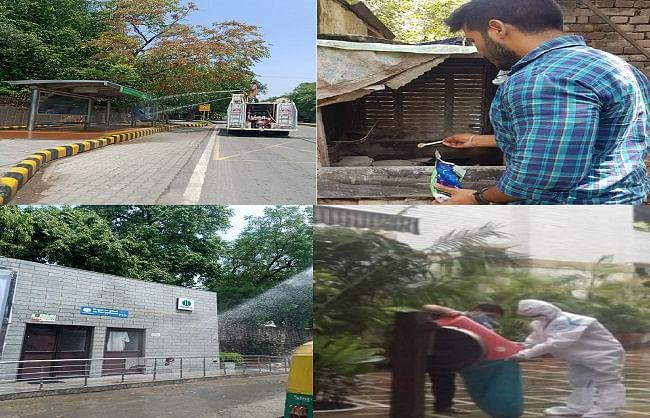 एनडीएमसी ने नई दिल्ली क्षेत्र में कई स्थानों पर किया कीटाणुरोधक दवा का छिड़काव