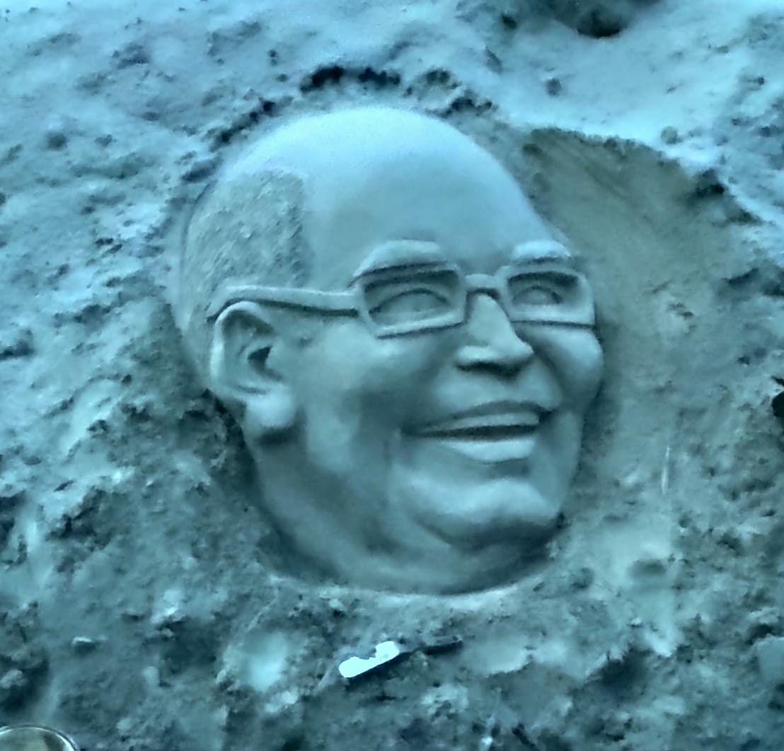 राष्ट्रपति के रूप में तीन वर्ष पूरे करने पर रेत पर उकेरी रामनाथ कोविंद की आकृति