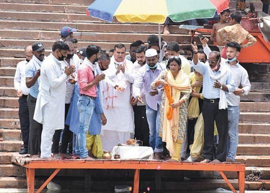 कांग्रेस सेवादल का नगर अध्यक्ष बनने पर यदुवंशी ने किया गंगा पूजन