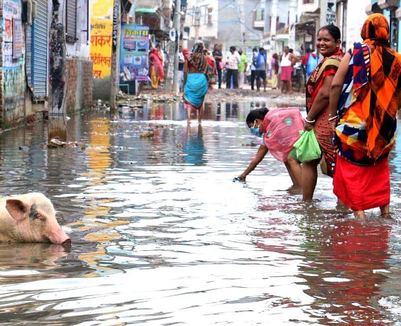 विधायक झा ने अधिकारियों के साथ जलभराव की समस्याओं का लिया जायजा