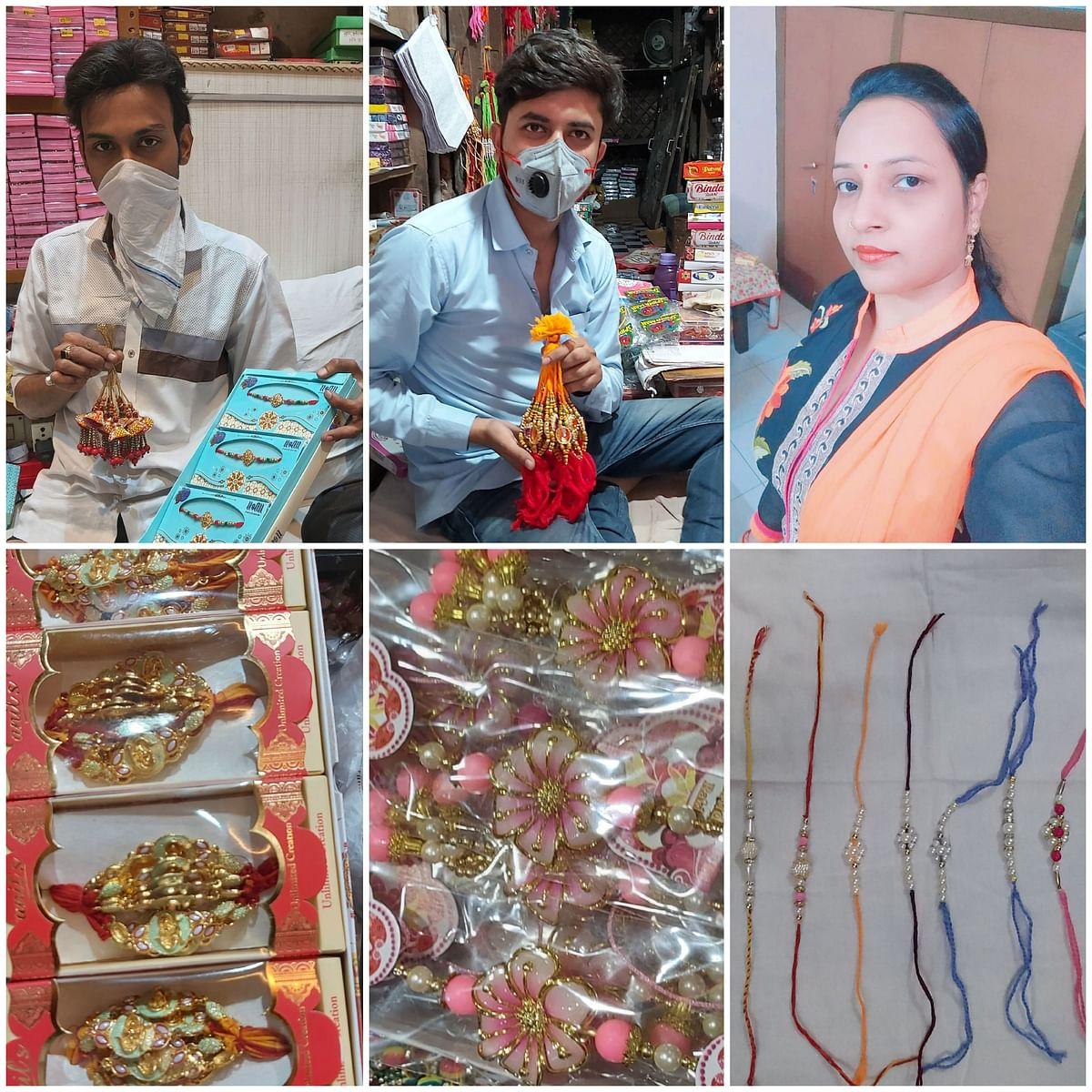राखी के व्यापार में कोरोना की चोट, गृहिणियों ने घर में बनाई राखियां