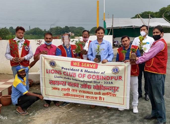 लायंस क्लब ऑफ गोविंदपुर के सदस्यों ने टुंडी रोड में किया पौधरोपण।
