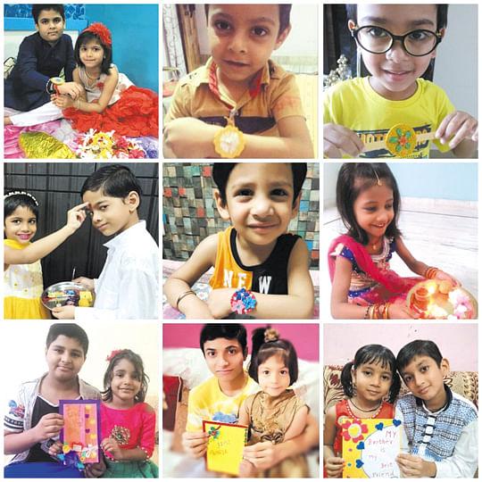 डीपीएस दौलतपुर के बच्चों ने बनाईं राखियां