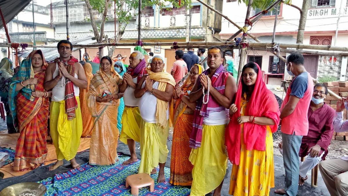 अम्फन में क्षतिग्रस्त शिव मंदिर के पुनर्निर्माण के लिए हुआ भूमि पूजन