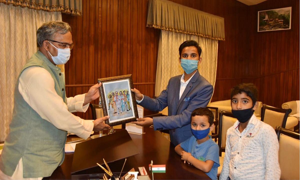 चित्रकार ने 'देश ही परिवार है' की थीम पर आधारित पेंटिंग मुख्यमंत्री को की भेंट