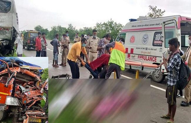 यमुना एक्सप्रेस-वे पर बस-कैंटर की भिड़ंत में चार की मौत, 8 घायल