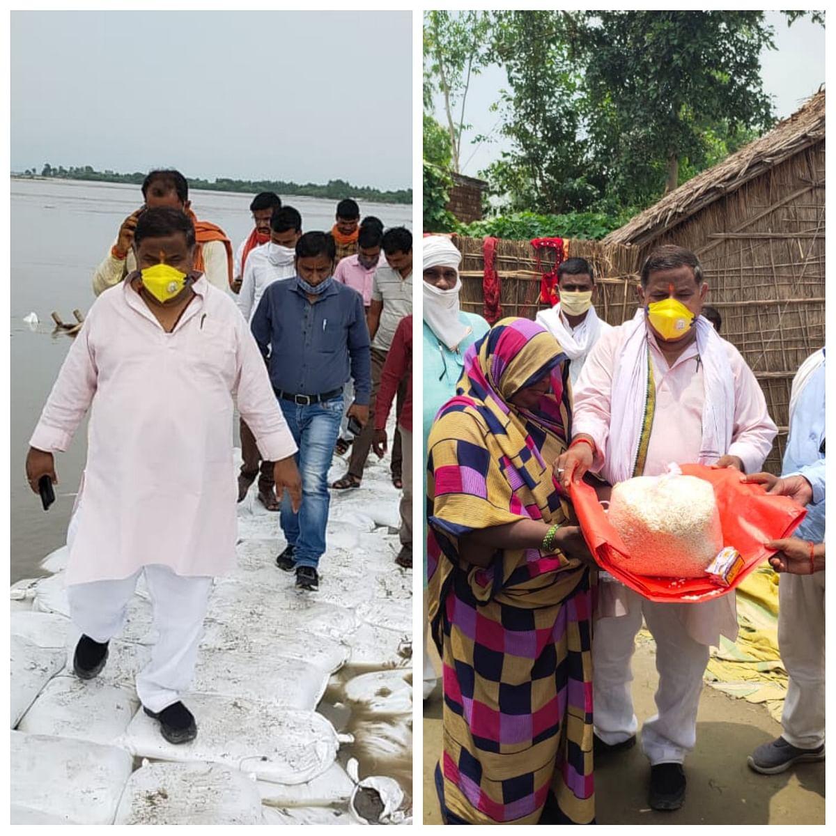 सीतापुर: सेउता विधायक ने बाढ़ क्षेत्र का लिया जायजा, बाढ़ पीड़ितों को प्रदान की राहत सामग्री