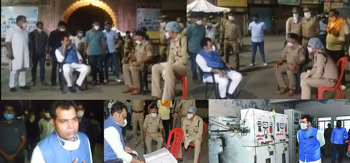 मथुरा : प्रदेश के ऊर्जामंत्री ने पूरी रात किया विकास कार्यों का निरीक्षण, चौराहे पर कुर्सी लगा की अपराध की समीक्षा बैठक