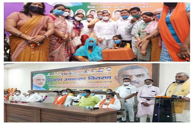 भाजपा ने प्रधानमंत्री के जन्मदिन पर वितरित किए दिव्यांगों के उपकरण, सिलाई मशीन और चश्मे