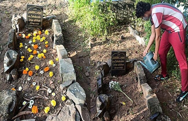 इरफान खान की कब्र पर खिले फूल, बेटे बाबिल ने तस्वीर शेयर कर कही ये बात