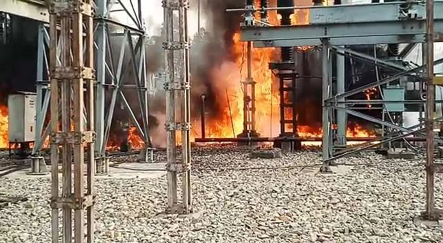 पावर ग्रिड सर्विस स्टेशन में लगी आग