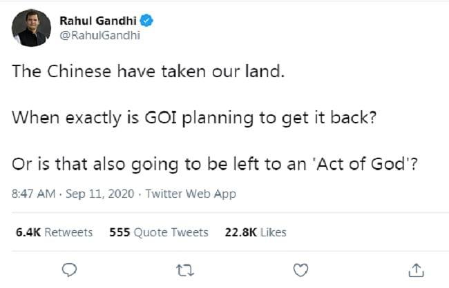 चीनी घुसपैठ पर राहुल का तंज, कहा- सरकार छुड़ाएगी भारतीय जमीन या बताएगी 'एक्ट ऑफ गॉड'