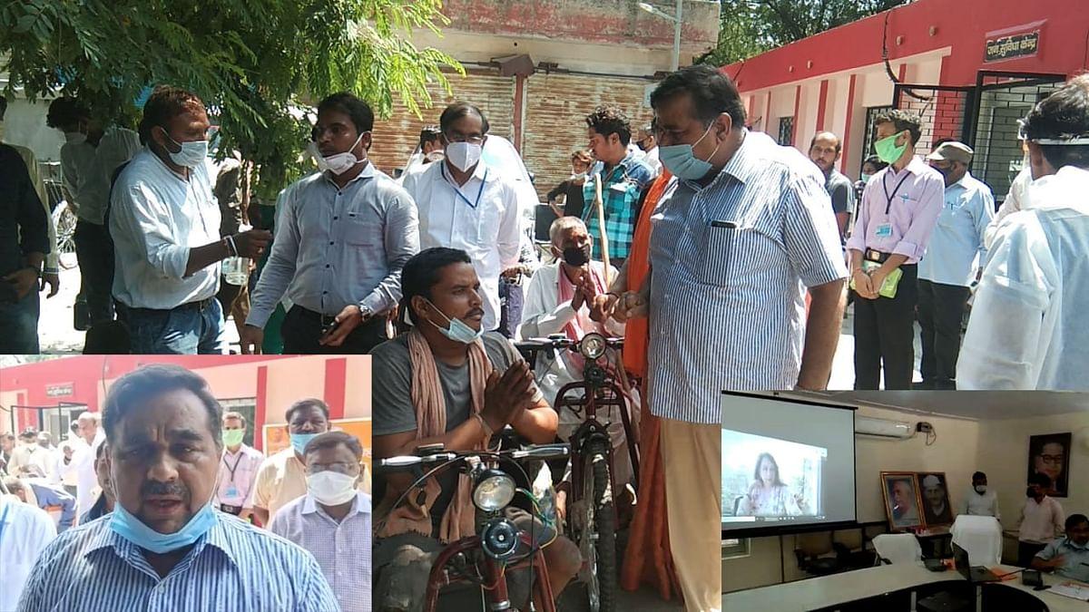 मथुरा :पीएम के जन्मदिन पर सांसद हेमा ने 46 बैटरी संचालित ट्राई साईकिल वितरित की