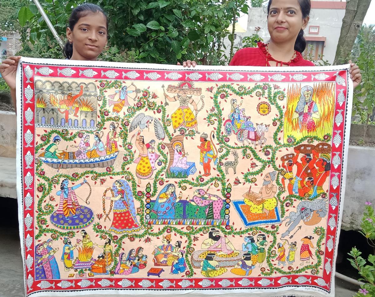 आत्मनिर्भर बनती अंजलि ने कैनवास पर उतार दिया   मधुबनी पेंटिंग में संपूर्ण रामायण