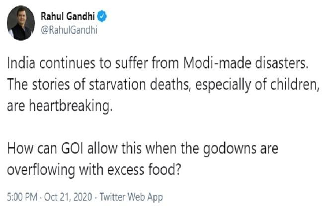 भुखमरी को लेकर राहुल का तंज, गोदाम अनाजों से भरे फिर भी भूख से क्यों मर रहे लोग