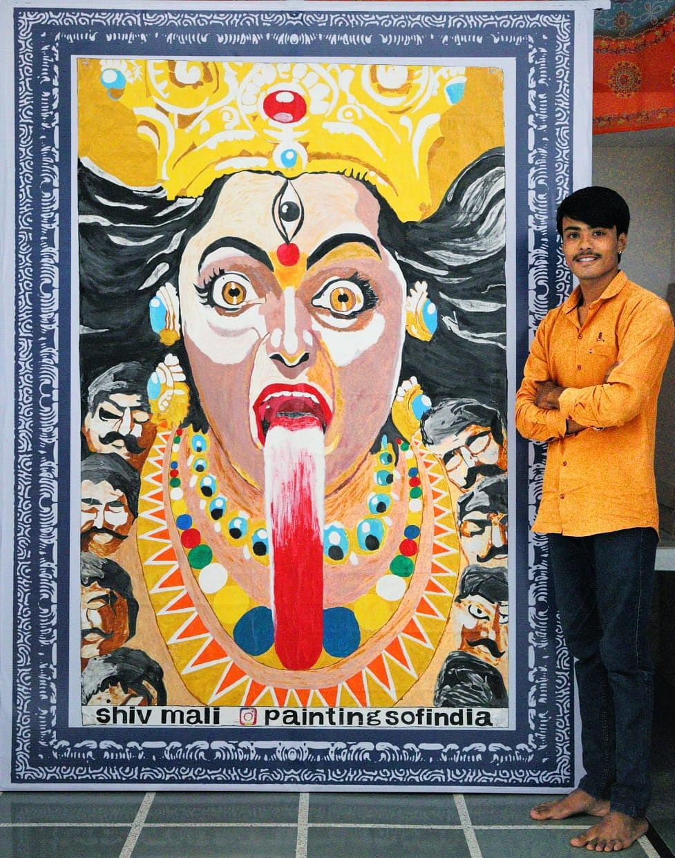 गिनिज बुक अवार्डी शिव माली की कालका माता की पेंटिंग ढीकोला में प्रदर्शित होगी