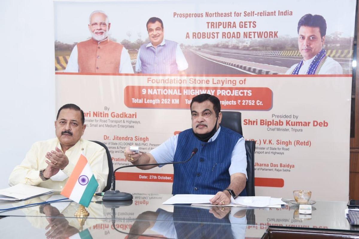गडकरी ने त्रिपुरा में 2 हजार 752 करोड़ की 9 परियोजनाओं का किया शिलान्यास