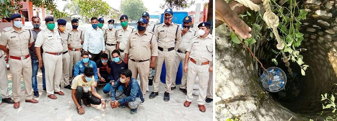पुलिस ने पकड़ा अवैध शराब बनाने का कारखाना, पांच गिरफ्तार, उपकरण सहित भारी मात्रा में शराब बरामद