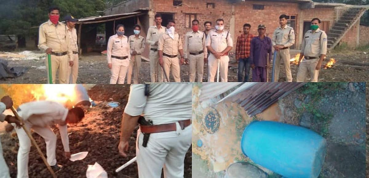पुलिस ने कार्रवाई करते हुए 10 हजार लीटर शराब जब्त कर नष्ट की