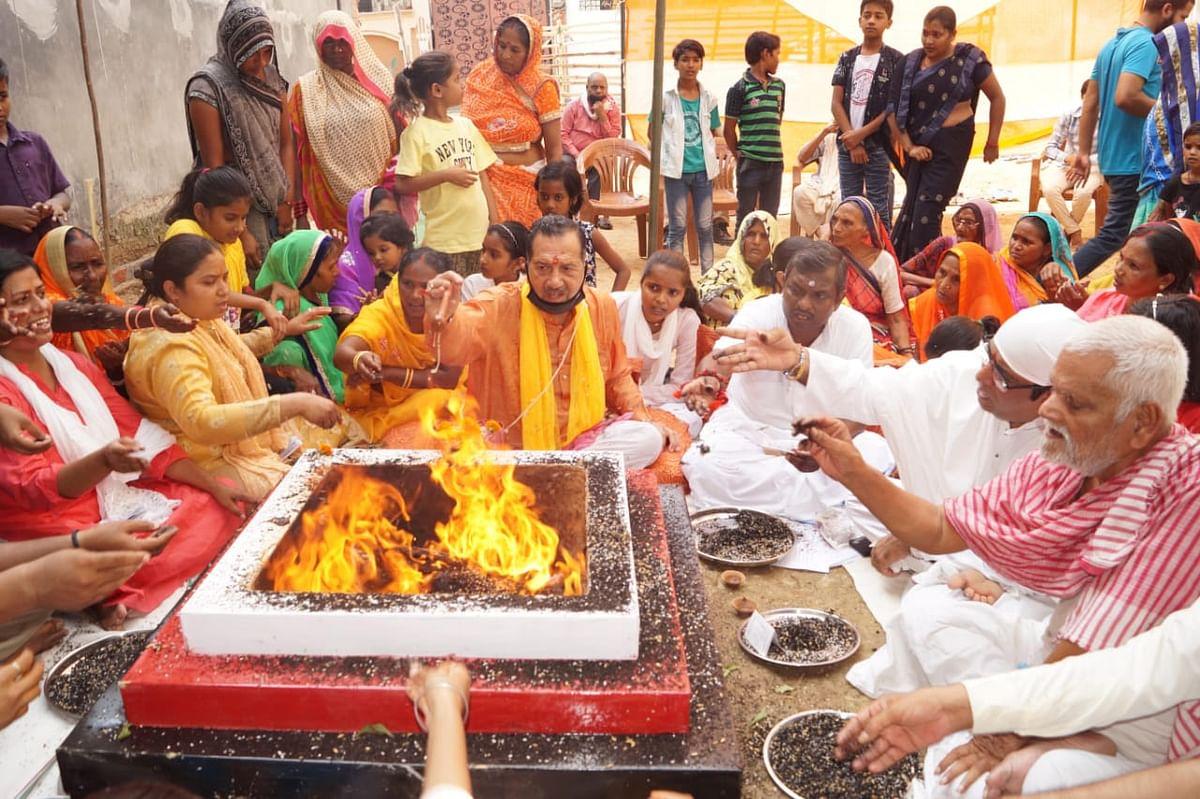 भगवान गणेश एवं दत्तात्रेय के मंदिर निर्माण के लिए इंद्रेश कुमार ने किया भूमि पूजन