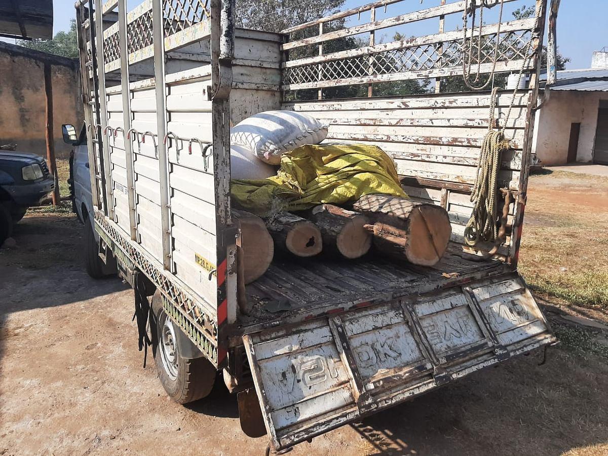 बिछुआ में पकड़ाई अवैध सागौन, वाहन छोड़ भागा वाहन चालक