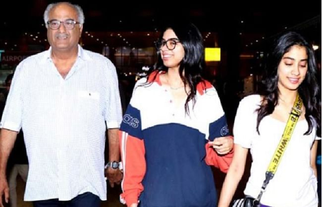 बोनी कपूर अपनी दोनों बेटियों खुशी और जाह्नवी कपूर के साथ चेन्नई घर का किया दौरा