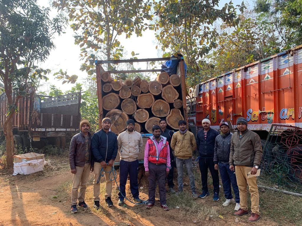 वन विभाग ने पकड़ा अवेैध लकड़ी लदा ट्रक, चालक गिरफ्तार