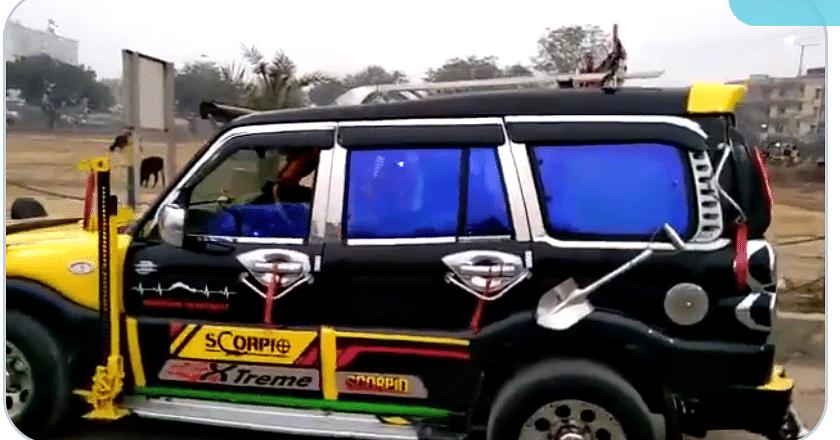 गाजियाबाद में मॉडिफाइड डांसिंग कार स्कॉर्पियो सीज, 41 हजार पांच सौ रुपये जुर्माना