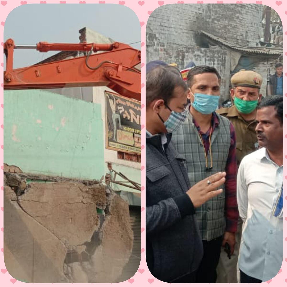 सीतापुर : अवैध अतिक्रमण पर चला प्रशासन का बुलडोजर, एसडीएम ने दी चेतावनी