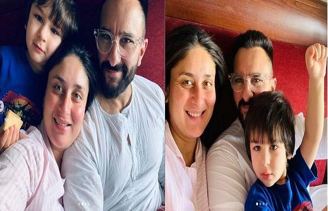 पति सैफऔर बेटे तैमूर के साथ मस्ती करती नजर आई करीना कपूर खान