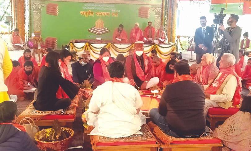 Chief minister Trivendra Singh Rawat offered sacrifice in Maha Parayan Yagya