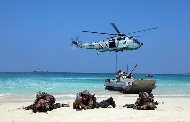 तीनों सेनाओं ने अंडमान और निकोबार द्वीप समूह में किया संयुक्त युद्धाभ्यास