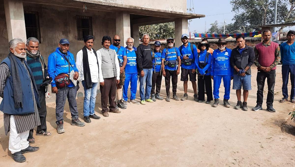 Members of Mundmal Ganga Parikrama reached Bihpur